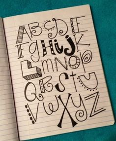 Alphabet lettering doodles by denisedaysmith - Click image to find more diy Do It Yourself Inspiration, Inspiration Quotes, Journal Inspiration, Creative Lettering, Lettering Ideas, Lettering Tutorial, Chalk Lettering, Creative Writing, Paper Crafts