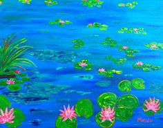Water Lily Original  Painting Original Art Flower by MelidasArt