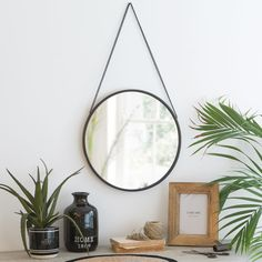 Round Metal Mirror in Black D 40 Mobile Table, D 40, Metal Mirror, Love Home, Round Mirrors, Diy Frame, New Room, Hanging Chair, Event Design