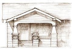 front porch idea for off center front door add space for plants, add steps