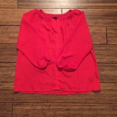F21 Blouse Bright red button up blouse with 3/4 sleeves. In perfect condition! Forever 21 Tops Blouses