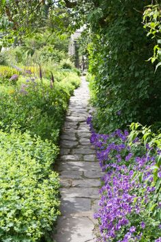A flagstone pathway with purple blossoms and green shrubs cornering its lanes. Check out these 75 beautiful and inspiring garden path ideas. Small and large paths and walkways in garden settings.