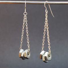 Paper Bead Jewelry French Bead & Silver Chain Earrings by Tanith