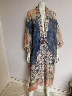30's Blue Satin and Lace Dressing Gown