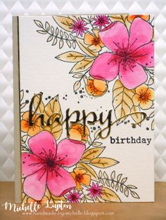 Can't people just stop having birthdays, maybe for a year, just so I can build up my stash of birthday cards, please? I used the Hello . Birthday Card Drawing, Watercolor Birthday Cards, Flower Birthday Cards, Birthday Wishes Cards, Watercolor Cards, Flower Cards, Birthday Card With Name, Beautiful Birthday Cards, Birthday Sayings