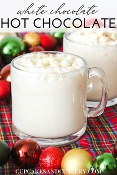 Pull out your favorite Christmas mug and fill it up with this delicious White Hot Chocolate! This recipe is super easy and pairs perfectly with a cozy night curled up under the lights from the tree. I'll show you how to make the BEST White Hot Chocolate for the whole family. #hotchocolaterecipe #whitehotchocolate #easyholidayrecipes #Christmasdrinkideas
