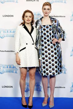 Daisy Ridley and Elizabeth Debicki attend the UK Gala Premiere of 'Peter Rabbit' at the Vue West End on March 11, 2018 in London, England