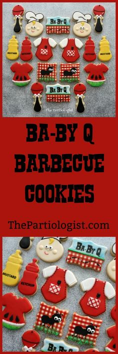 The Partiologist: Barbecue Cookies! Baby Cookies, Baby Shower Cookies, Yummy Cookies, Sugar Cookies, Farm Animal Party, Cute Themes, Couples Baby Showers, Baby Rattle, Party Shop
