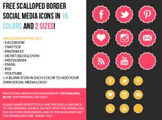 The Darling Blog: Scalloped Border Social Media Icons in 15 Colors & 2 Sizes