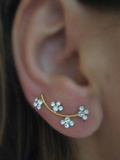 Ear Sweep Wrap - Cuff Earring with Swarovsky - Gold Filled - Nr.6 | blucky - Jewelry on ArtFire