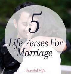 5 Encouraging Life Verses For Marriage --- Life verses are passages of scripture found in the Bible that capture our attention and feed our soul. They are so comforting, they almost seem tangible. God's Words are powerful! The Bible is a manual for life. Godly Marriage, Marriage Relationship, Happy Marriage, Marriage Advice, Love And Marriage, Relationships, Marriage Verses, Marriage Prayer, Bible Passages About Marriage