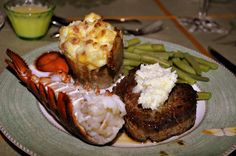 Valentine's Day Dinner for Two! Cheese-topped Onion Soup, Filet Mignon with Parmesan Butter, Lobster with Lemon Butter, Twice-baked Potatoes, Steamed Green Beans and Chocolate Truffle Tartlettes--from createamazingmeals.com
