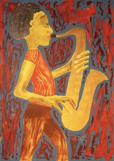 Saxophonist/Maarit Korhonen, acrylic, oil sticks, canvas, 92cm x 65cm Dark Paintings, Original Paintings, Online Painting, Artwork Online, Dancer In The Dark, Autumn Painting, Original Art For Sale, Artists Like, House Painting
