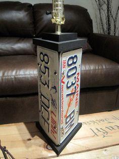 License Plate Upcycled Lamp - Maine, Utah, Nebraska. $54.95, via Etsy.