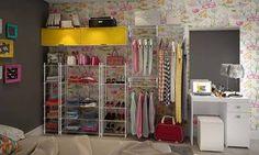 Conjunto para Closet com Estantes, Ponte Modulada, Cabideiro Suspenso e Penteadeira Branco/Amarelo - Caaza | Lojas KD