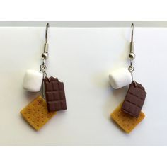 S'mores Polymer Clay Dangle Earrings ($17) ❤ liked on Polyvore featuring jewelry, earrings, long earrings, clay earrings, dangle earrings and clay jewelry
