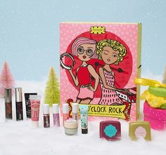 Girl-o-clock rock set in a colourful and snowy winter scene. set includes: the POREfessional mini • they're real! mascara mini • benetint mini • posietint mini • they're real! remover mini • it's potent! eye cream mini • lollibalm mini • hoola mini • dandelion mini • BADgal lash mini • high beam mini • lollitint mini