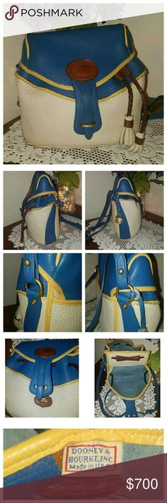 Dooney & Bourke AWL Rare Teton Drawstring Pictures say it all for this beauty!! This is a very rare & gorgeous tri-colored Teton crossbody drawstring in French Blue, Palomino & Bone. Very clean inside & out with only a few minor rubs on her corners. One interior zip pocket with 2 slip pockets (one is a snap closure) and one exterior slip pocket on the back. Serial #B6944902  REASONABLE OFFERS ENTERTAINED ❌TRADES ❌MODELING ❌LOWBALLERS WILL BE BLOCKED SALE prices are FIRM Dooney & Bourke Bags…