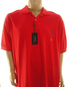POLO RALPH LAUREN NEW $98 RED MESH POLO SHIRT 2XB XXL BIG & TALL #PoloRalphLauren #PoloRugby