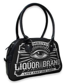 Liquor Brand Damen EYE Handtasche/Bags.Tattoo,Pin up,Rockabilly,Biker Style