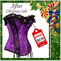 EB- 10046 Purple Satin Authentic Steel Boned Overbust Corset With Black Lace Satin Tape