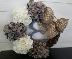 Custom Grapevine Wreath with Flowers, Bow and Monogram Letter Grapevine Wreath, Burlap Wreath, Monogram Letters, Grape Vines, Letter Wreath, Wreaths, Lettering, Flowers, Crafts