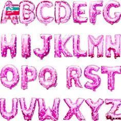 16 pulgadas de Color Rosa Letra A a la Z Alfabeto Carta de Globos de papel de Aluminio Fiesta de Cumpleaños de la Boda Decoración de eventos y fiesta de Acción de gracias