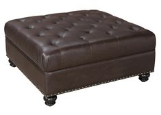 Dorel Living Hastings Tufted Faux Leather Square Ottoman, Brown