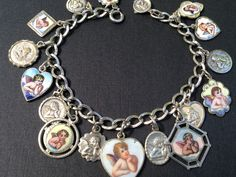 Vintage Charm Bracelet Collection - Antique Raphael Angels Silver & Enamel Charm Bracelet