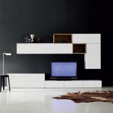 of TV media unit 'White 2' for modern living room by Santa Lucia