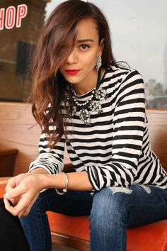 Striped shirt meets statement jewelry (all Ring My Bell x BaubleBar).