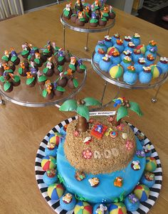 Animal Safari Birthday Pool Party Cake and Cake Pops