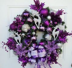 Purple Silver Christmas Wreath.