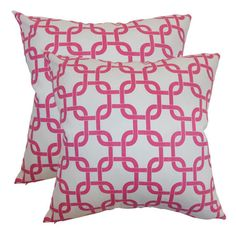 Alyssa Pillow in White & Candy Pink - These colorful decorative throw pillows are not Lilly Pulitzer, but they remind me of those designs. #decor
