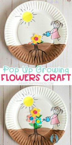 Paper Plate Growing Flower Craft Paper plate growing flower craft for kids to enjoy for a spring craft. Easy craft for preschoolers and toddlers, watching their flowers grow out of the soil. #iheartcraftythings<br> Paper plate growing flower craft for kids to enjoy for a spring craft. Easy craft for Preschoolers, watching their flowers grow out of the soil. Frog Crafts, Bird Crafts, Easter Crafts, Decor Crafts, Christmas Crafts, Unicorn Crafts, Christmas Porch, Etsy Crafts, Outdoor Christmas Decorations