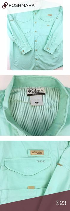 2e46436f2 Columbia PFG Sz L Aqua Fishing Shirt * Men's long sleeve vented shirt by  Columbia Performance