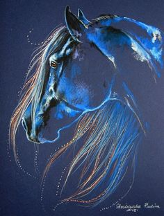 Beautiful glowing blue horse painting with gorgeous flowing pretty mane. Magic of the Horse Original Art. Please also visit www.JustForYouPropheticArt.com for more colorful Prophetic Art you might like to pin or purchase or for painting ideas for your own paintings. Thanks for looking! Blessings!