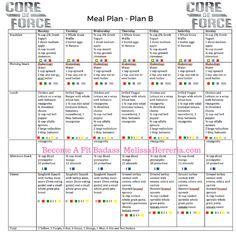 Core de Force Meal Plan for Plan B