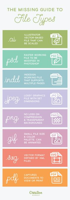 Understanding the pros and cons of using a certain file type for your project is important. This infographic from Creative Market helps you better understand various file formats: