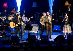 Beck, Nick McCarthy, Alex Kapranos, Jarvis Cocker and Charlotte Gainsbourg perform on stage as part of Beck's experimental Song Reader Live at Barbican Centre in London.