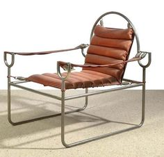 Austria, 1972/73, nickel plated tubular steel, red leather, red lacquered iron plate, coil springs, height 77 cm, width 70.5 cm, depth 70 cm, height of seat 35 cm. (DR) A unique piece. Provenance: acquired from the artist in the 1970s – private property Vienna