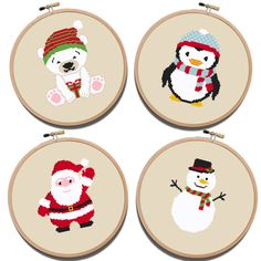 Christmas Cross Stitch Pattern 4 in 1 Santa Claus Xmas PDF Pattern Modern Christmas Baby Children room design