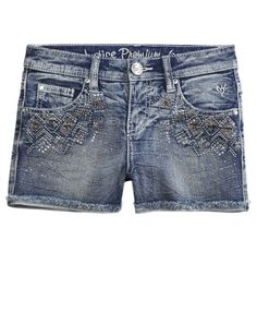 Embellished Heavy Stitch Denim Shorts