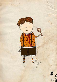 Virgo boy print illustration zodiac print astrology boy by krize
