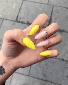 Yellow nude nails with stones