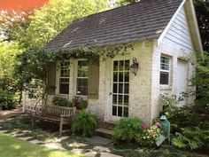 Although this is a potting shed, it is very close to how I want the Burrow to look, lymed brick and cottage garden