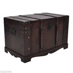 Wooden Vintage Large Wooden Treasure Storage Chest Toy Box Trunk Home Decoration