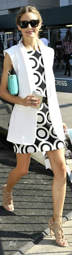 Street Fashion Olivia wearing monochrome....love the waistcoat with dress