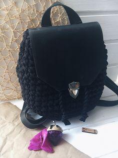 Рюкзак. Вязаный рюкзак. Трикотажная пряжа. Кожаный рюкзак. Красивая вязка