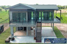 แบบบ้านสองชั้นใต้ถุนสูง ขนาด 2 ห้องนอน สวยเทห์แนวลอฟท์   ดูไอเดียบ้าน Two Story House Design, Village House Design, Bungalow House Design, Tiny House Design, Tropical House Design, Simple House Design, Raised House, Hut House, Beachfront House